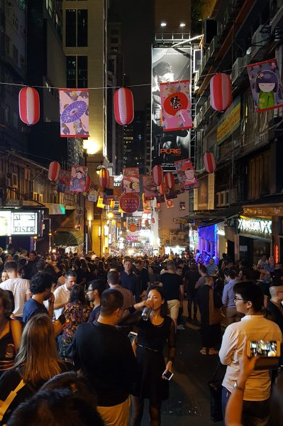 Famous drinking district in Hong Kong filled with locals and tourists