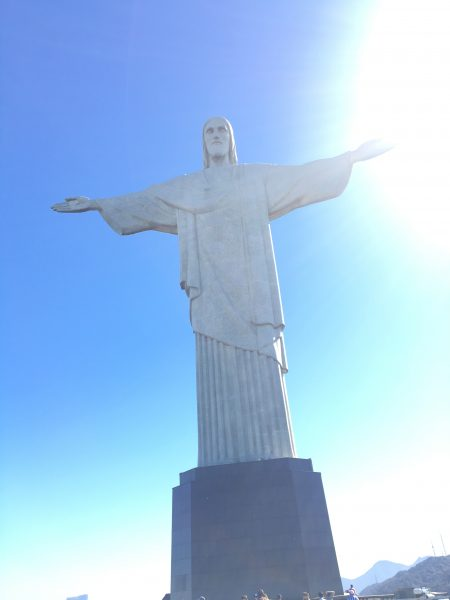 Statue of Christ the Redeemer / Corcovado against blue sky in Rio de Janerio, Brazil