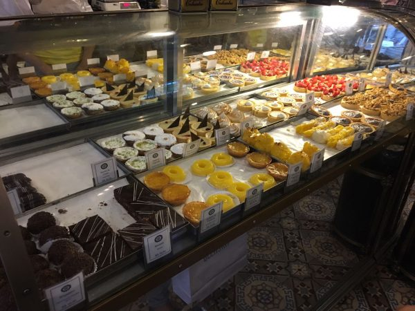 Display of baked goods at Confeitaria Colombo in Rio de Janerio, Brazil