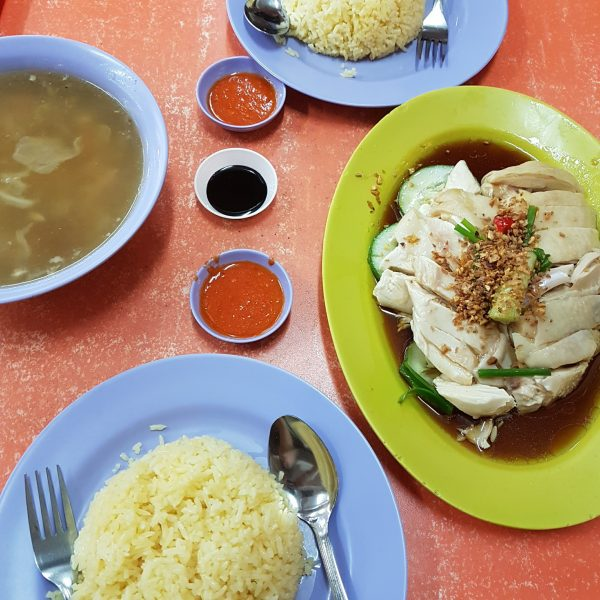Hainanese steamed chicken rice with soup