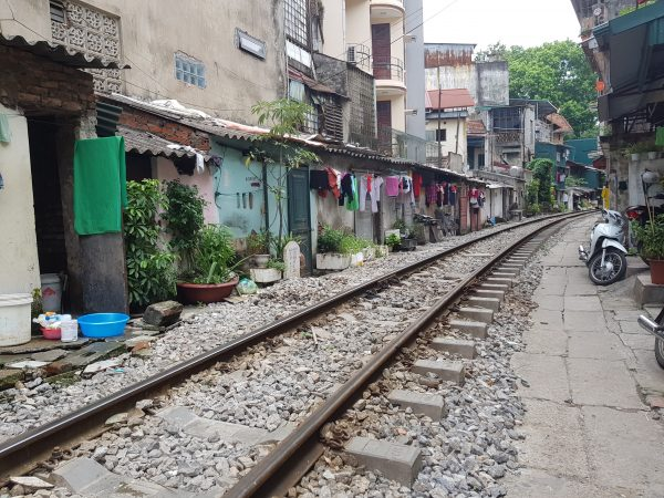 A railway track on the streets of Hanoi
