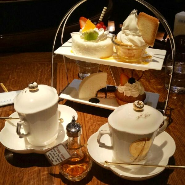 A high tea set at Shiroi Koibito Chocolate Factory