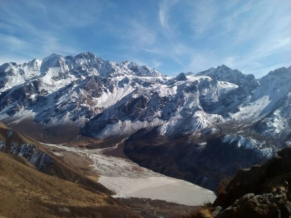 Snow-capped mountains lining Langtang Lirung Valley in Nepal