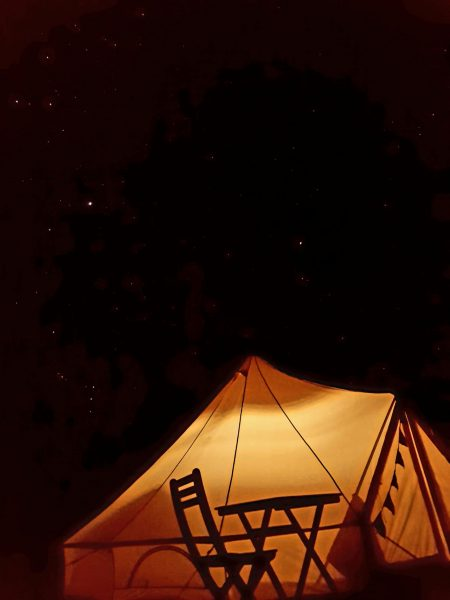 Night view of the glamping site at Cumberland River