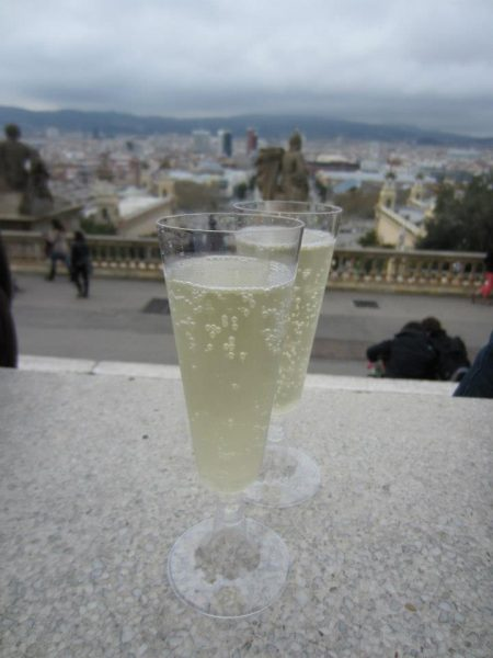Sipping a glass of Cava at Barcelona's highest point, Montjuic