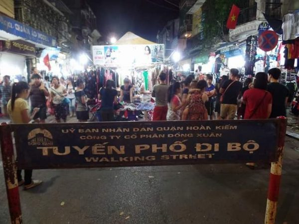 Tuyen pho di bo walking street at Hanoi Vietnam