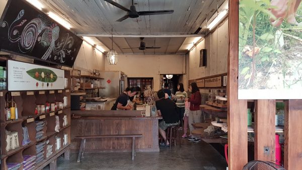 Entrance to mochi shop with staff making mochi