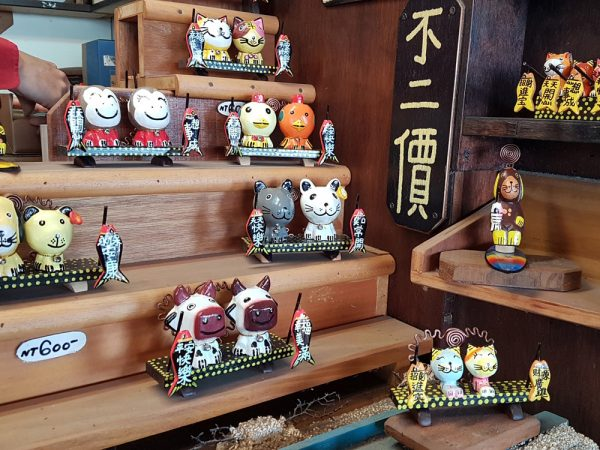 Closeup of handcrafted souvenirs